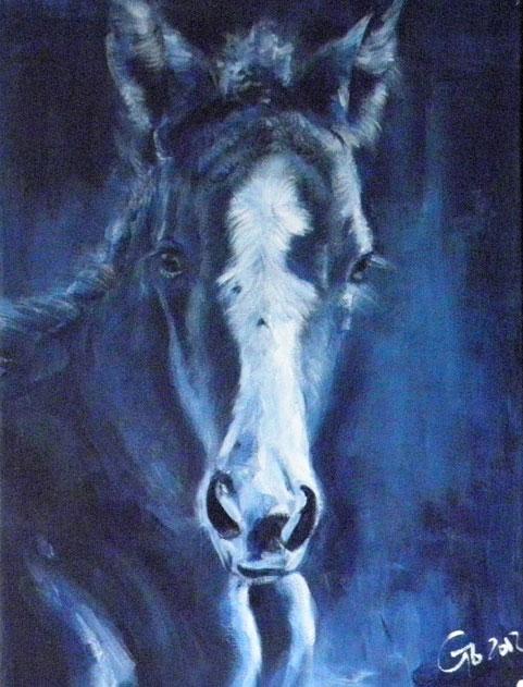 Digitaal schilderij van paard Veulen Indigo