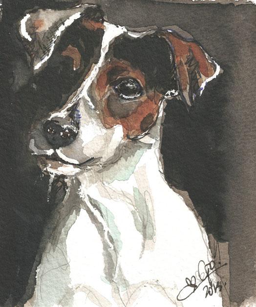 Digitaal schilderij van Hond Freddy
