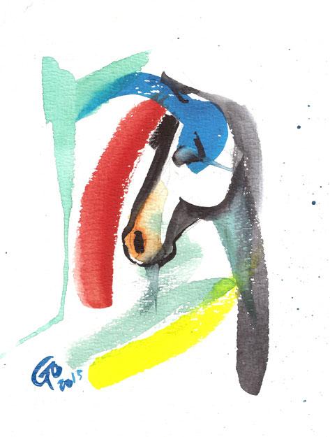 Aquarel schilderij van paard Abstract Paard