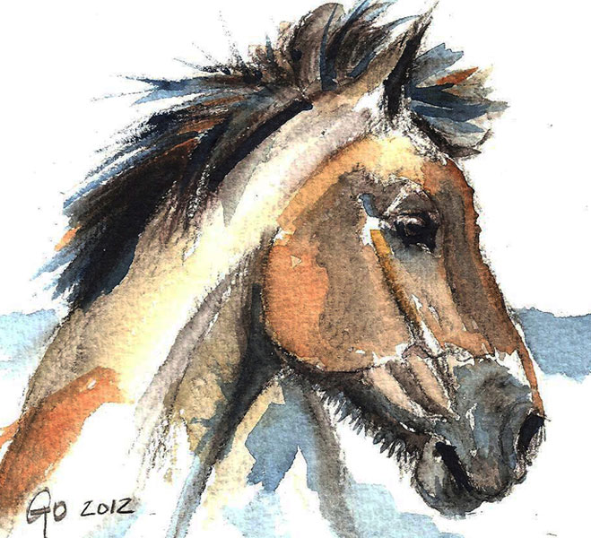 Aquarel schilderij van Paard Jeremy
