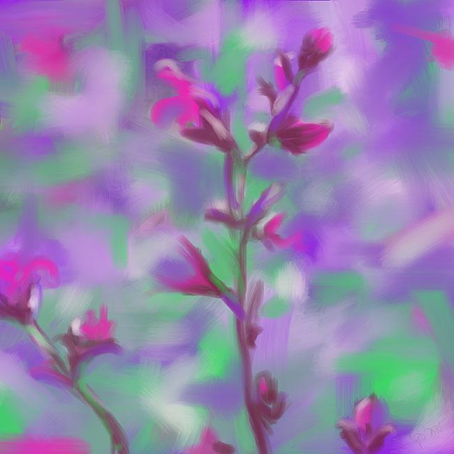 Digitaal schilderij van zee Flower Power
