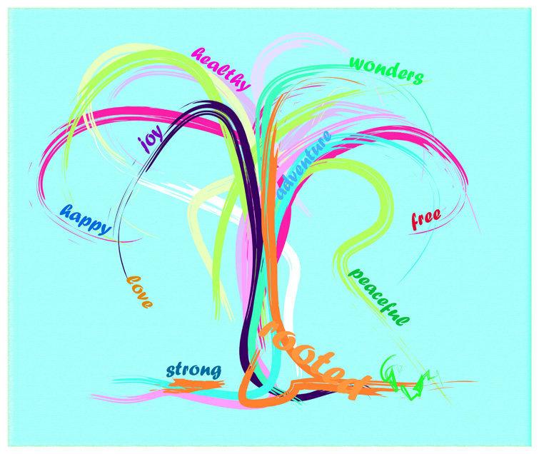 Digitaal schilderij van boom Happy Tree