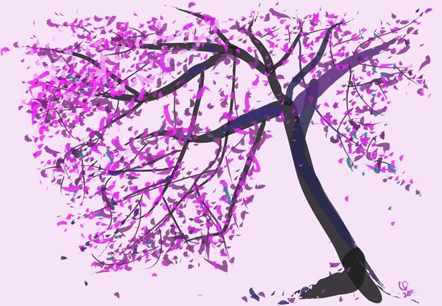 Digitaal schilderij van boom Pink Tree