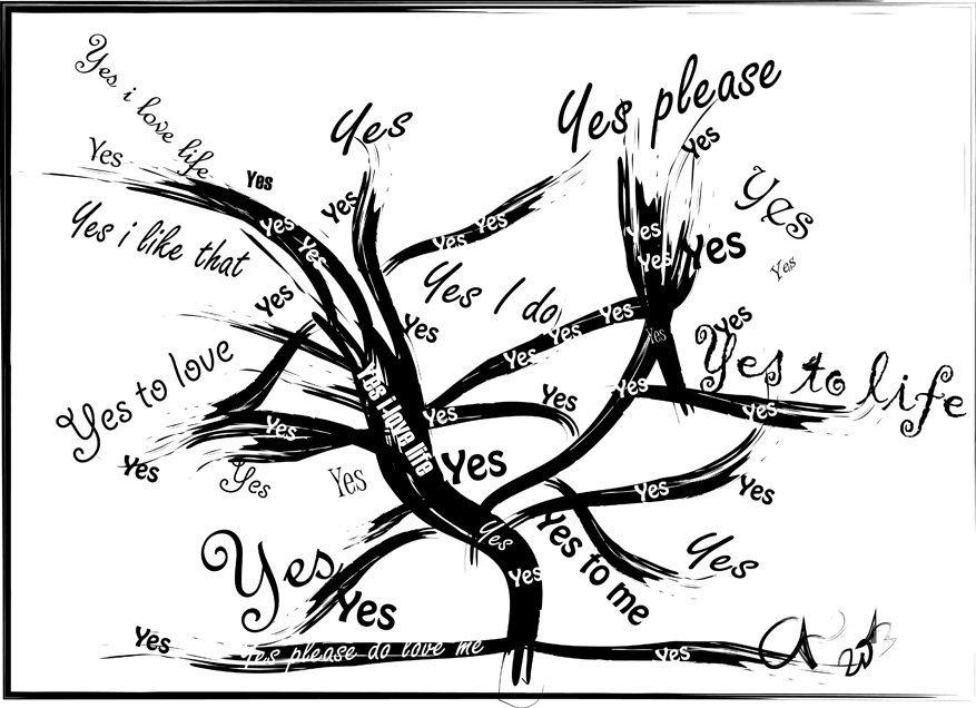 Digitaal schilderij van boom Yes Tree