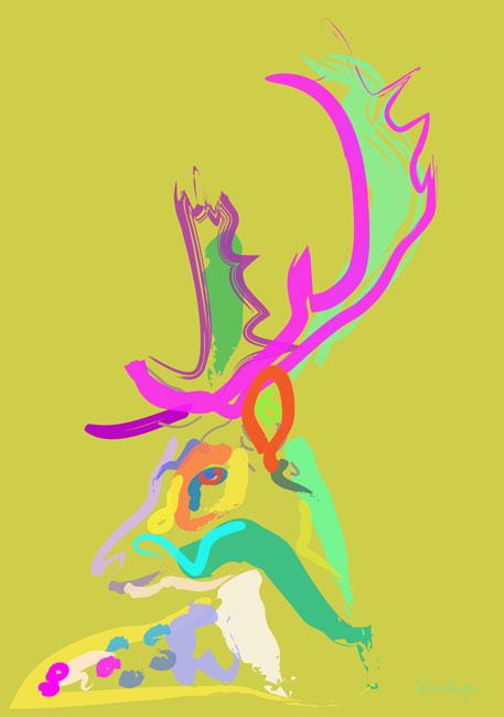 Digitaal schilderij van Hert