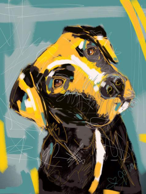 Digitaal schilderij van Hond Boris