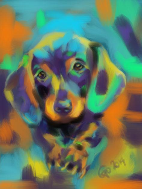 Digitaal schilderij van Hond Bobby