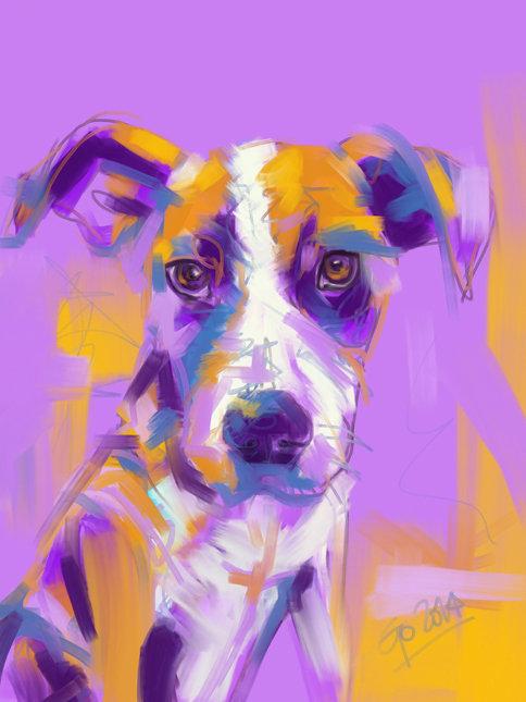 Digitaal schilderij van Hond Charlie