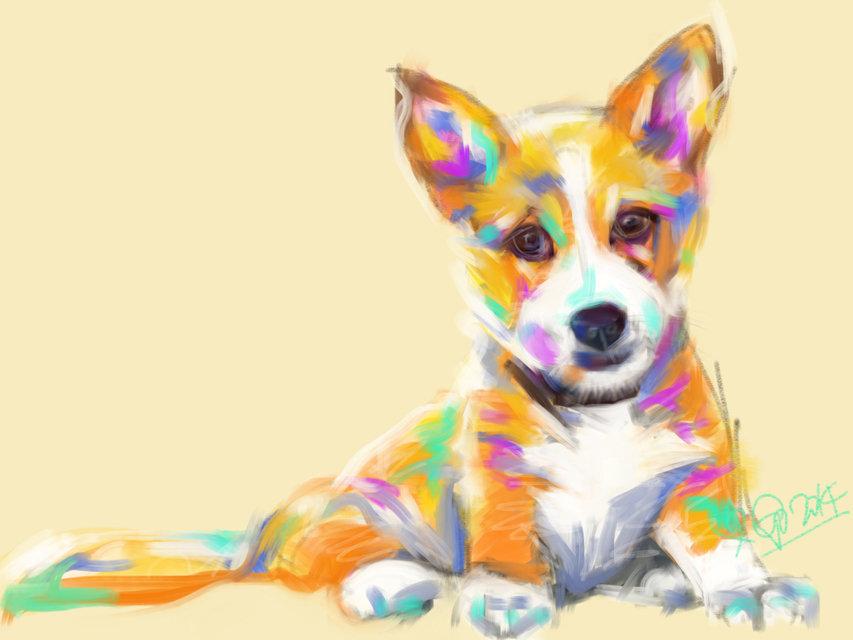 Digitaal schilderij van Hond Jerry
