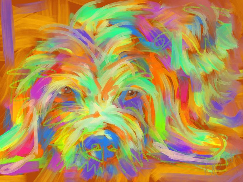 Digitaal schilderij van Hond Matze