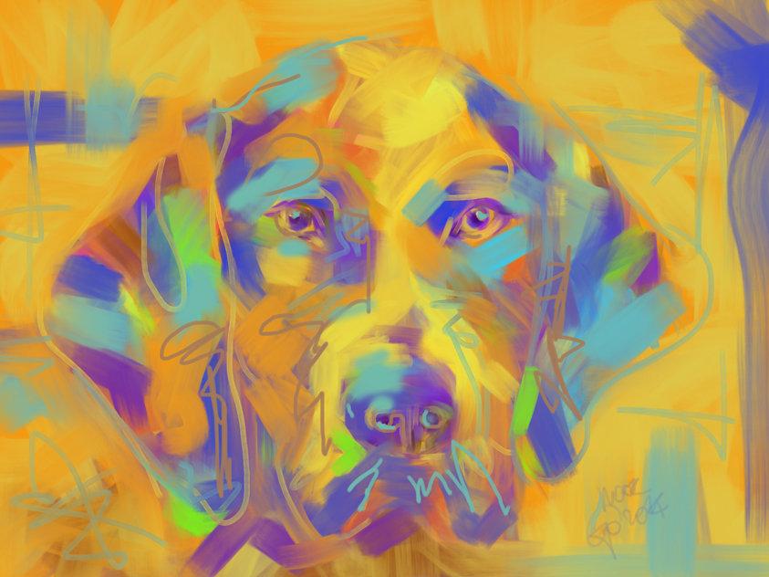 Digitaal schilderij van Hond Noor