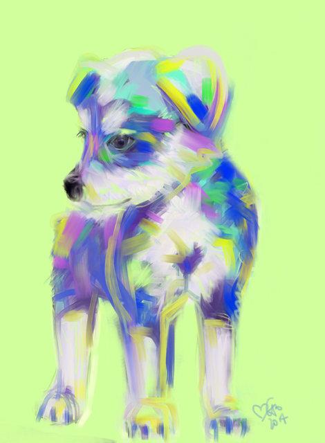 Digitaal schilderij van Schattige Puppy