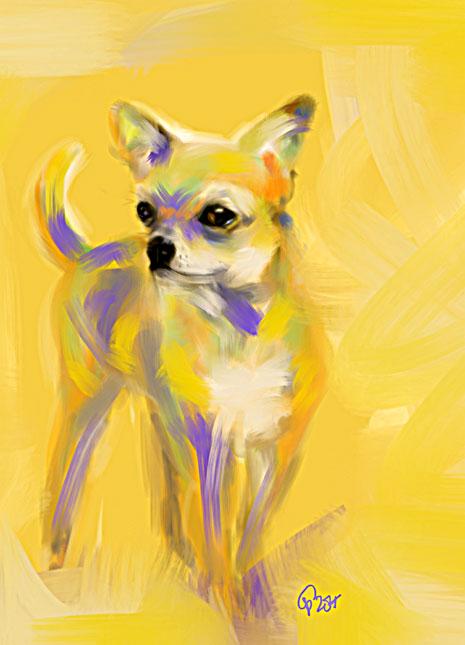Digitaal schilderij van Chihuahua Josh