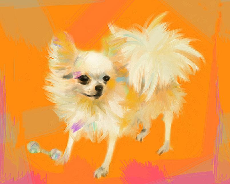 Digitaal schilderij van Chihuahua Orange