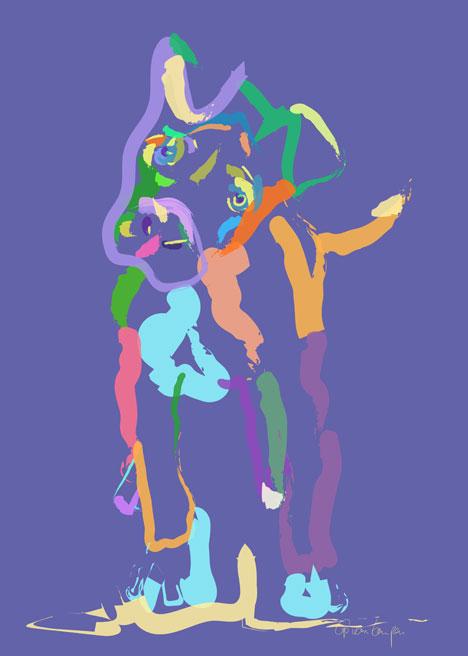 Digitaal schilderij van Hond Cookie