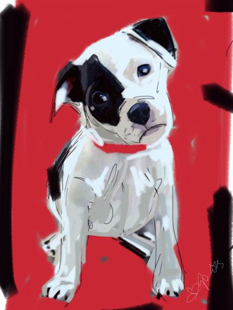 Digitaal schilderij van Doggie Red
