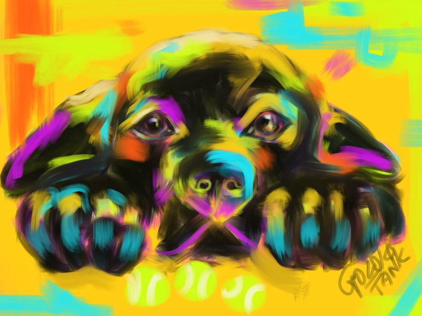 Digitaal schilderij van Hond Tank