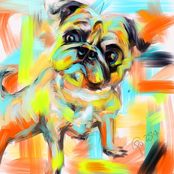 Digitaal schilderij van Pug Rocky