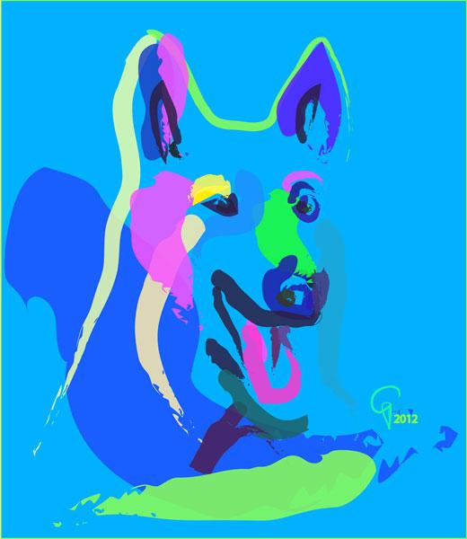 Digitaal schilderij van Hond