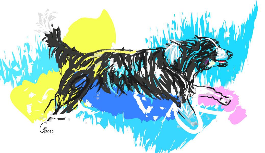 Digitaal schilderij van Hond in water