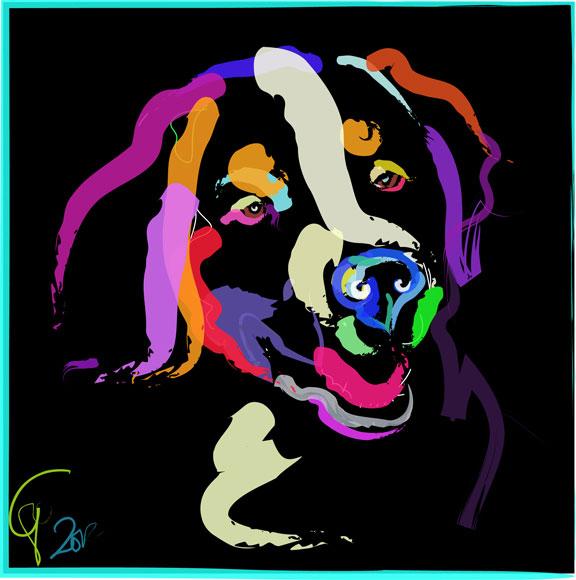 Digitaal schilderij van Hond Iggy Color me Bright