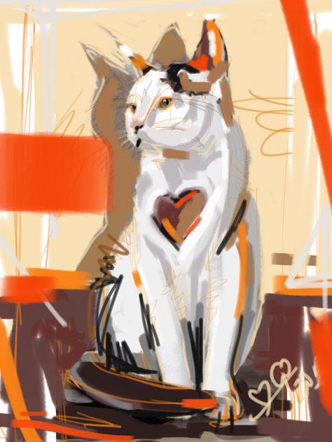 Digitaal schilderij van Kat Big Heart
