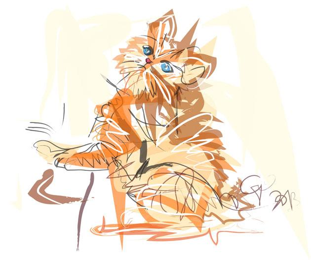 Digitaal schilderij van Little Tiger Kitty