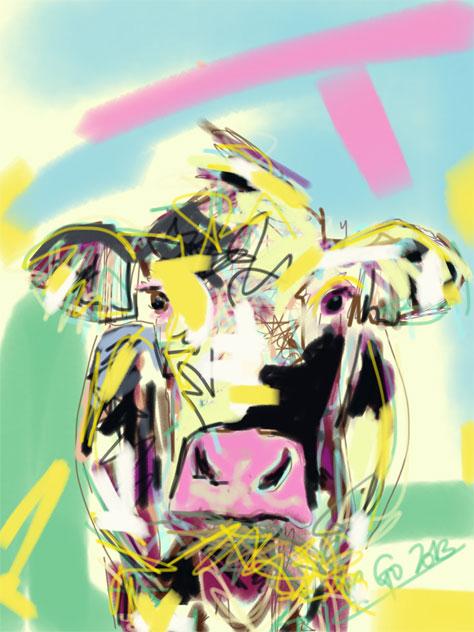 Digitaal schilderij van Koe Happy