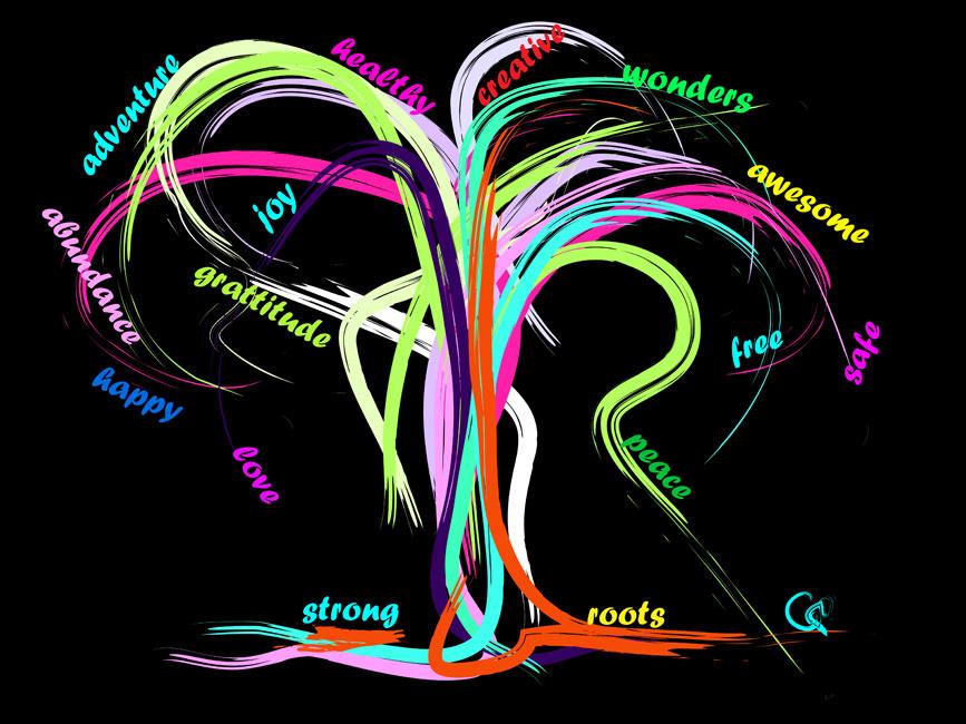 Digitaal schilderij van boom Awesome New Year Tree
