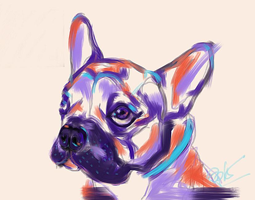 Digitaal schilderij van Hond Reggie