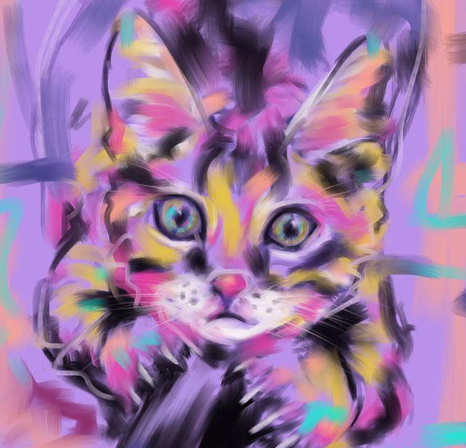 Digitaal schilderij van Kat Wild Thing