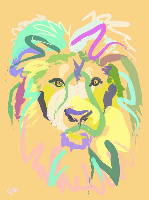 Digitaal schilderij van Leeuw