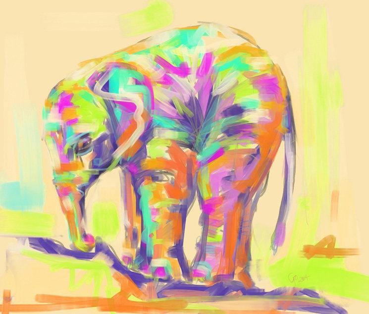 Digitaal schilderij van Baby Olifant in kleur