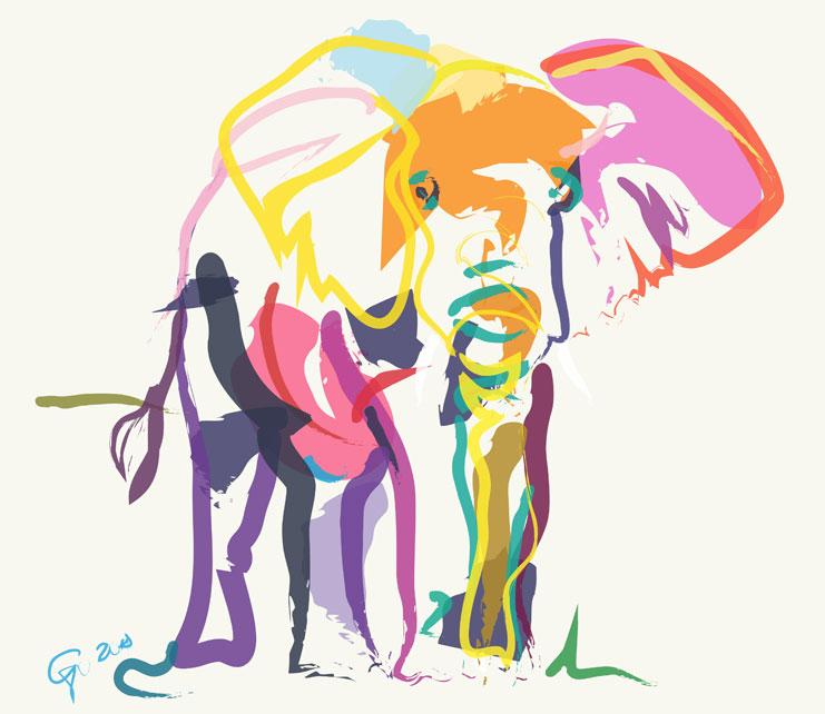 Digitaal schilderij van Olifant in Ecru