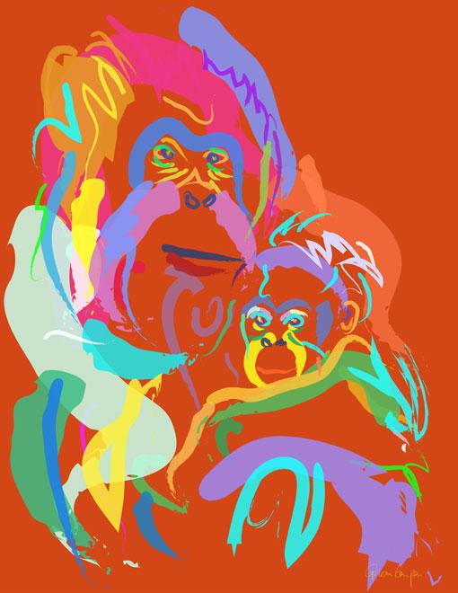 Digitaal schilderij van Orang Oetan Moeder en Baby