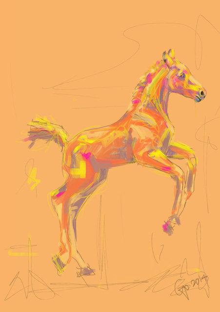Digitaal schilderij van paard Dartelend Veulen