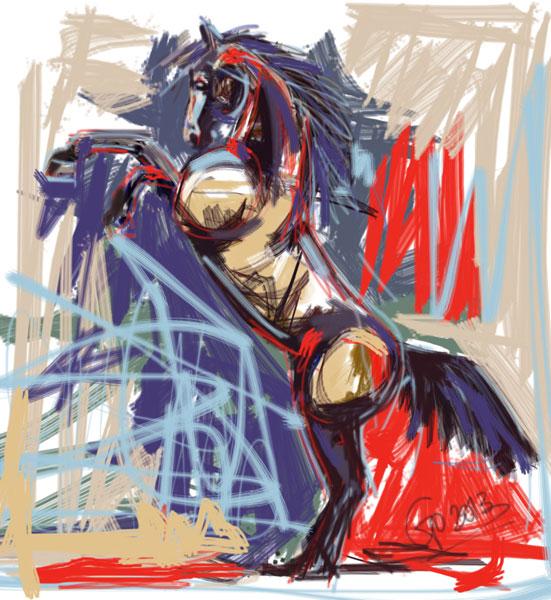 Digitaal schilderij van paard Horse Rising High