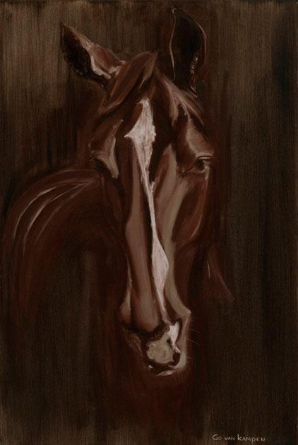 Digitaal schilderij van paard Paard Apple Warm Bruin