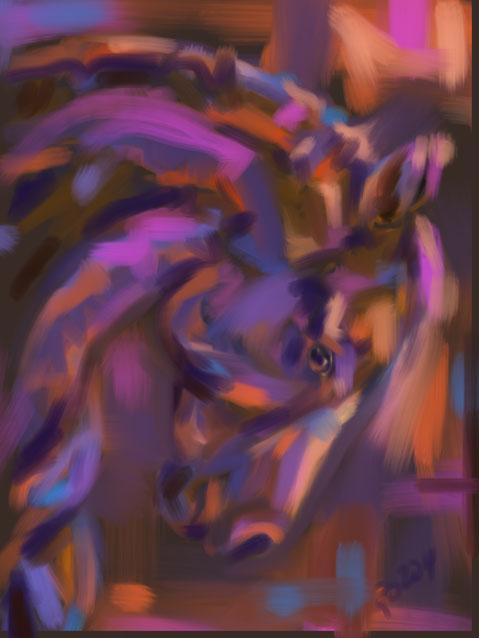 Digitaal schilderij van paard Paard Strong Head