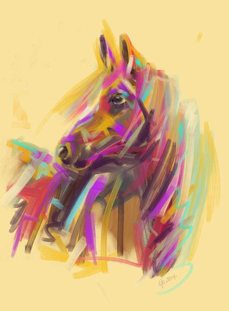 Digitaal schilderij van paard Paard True Colours