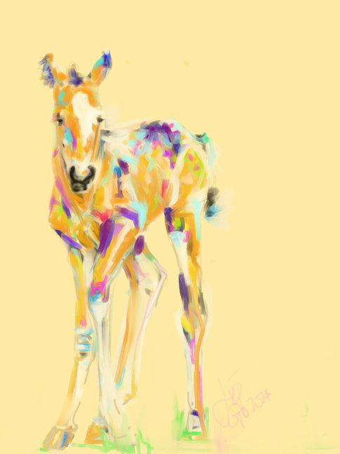 Digitaal schilderij van paard Veulen Jip