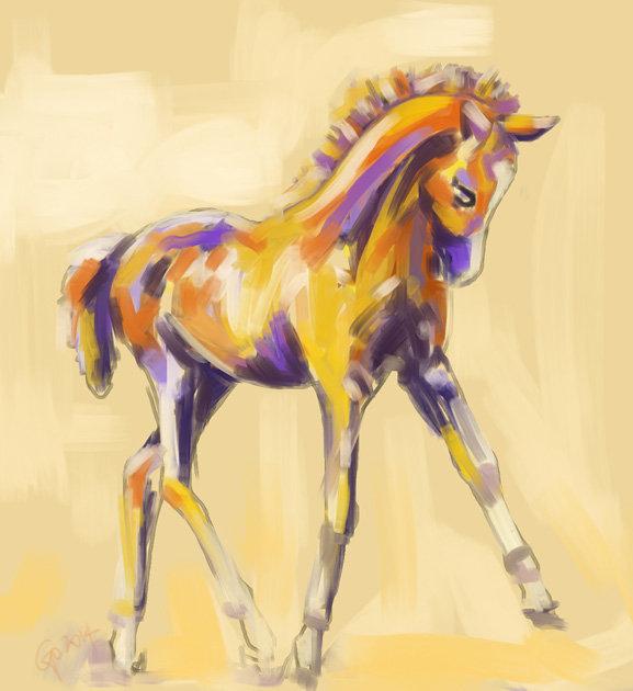 Digitaal schilderij van paard Veulen Kleur en Gratie
