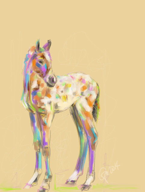 Digitaal schilderij van paard Veulen Paint