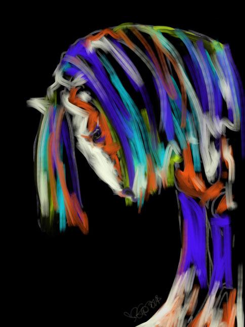 Digitaal schilderij van paard Paard Humble Guy