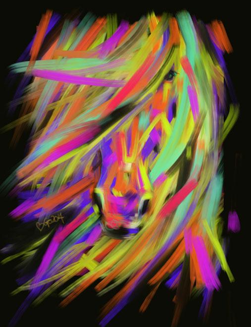Digitaal schilderij van paard Paard Rainbow Hair