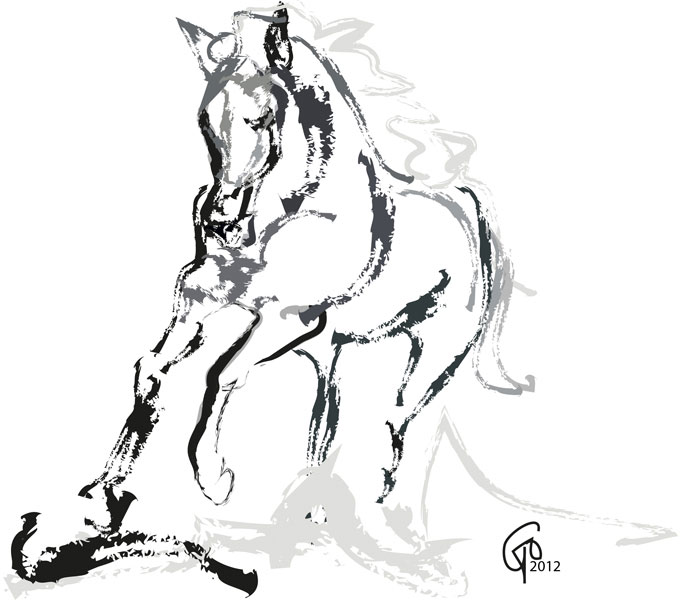 Digitaal schilderij van paard Paard Andalusian Angel