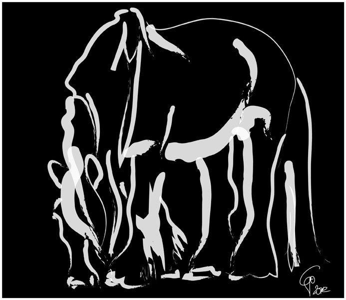 Digitaal schilderij van paard Paard Be Strong