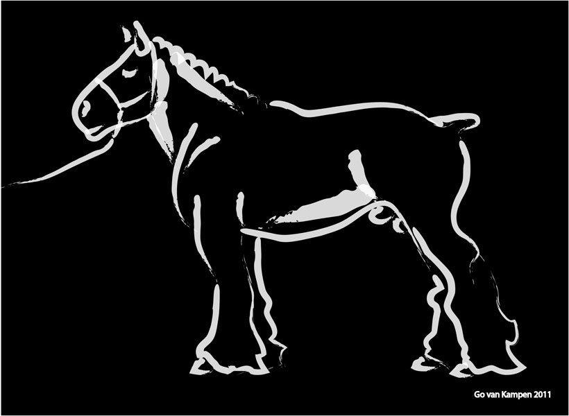 Digitaal schilderij van paard Paard Big Fella