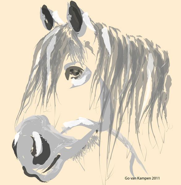 Digitaal schilderij van paard Paard Big Jack