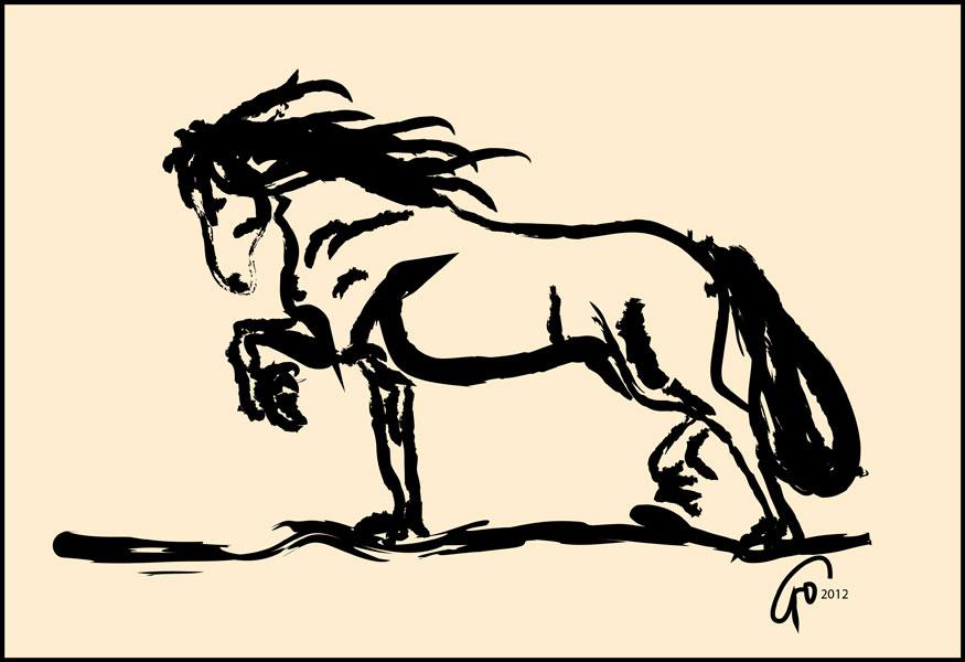 Digitaal schilderij van paard Paard Blacky